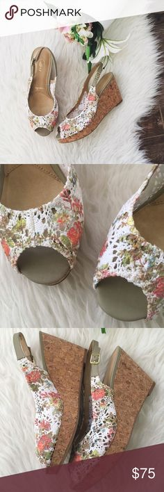 "nwt//trotters • allie wedges in white floral 🛍: trotters {signature} ▫️""Allie"" slingback wedges in white floral  ▫️crochet fabric, cork wedge ▫️adjustable buckle closure ▫️breathable leather lining ▫️cushioned suede leather footbed ▫️wedge height: 3.75"" ▫️platform height: 1"" ▫️size: 10.5 Medium ▫️condition: new with box  •please see all pics, read description, and ask questions before purchasing  •no trades• trotters Shoes Wedges"