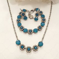SWAROVSKI CRYSTAL NECKLACE, set, flower embellished, blue opal, earrings, , crystal set, pearl, designer inspired, everyday jewelry