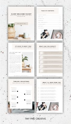Show your new clients how professional you are with the New Client Welcome Packet! With this easily customizable template, you can edit it to match your branding! Click through to shop. #canva #template | tinypinecreative.com