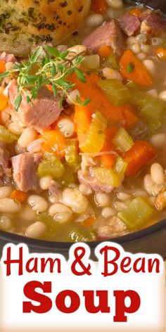 A BEST EVER recipe for Ham and Bean Soup! An all-time favourite recipe for leftover ham, so hearty and delicious. Recipe For Ham And Bean Soup, Bean Soup Recipes, Ham And Cabbage Soup, Ham Soup, Homemade Mushroom Soup, Homemade Soup, Leftover Ham Recipes, Leftovers Recipes, Easy Hamburger Soup