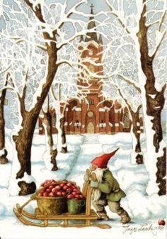 Kabouter met kerstappeltjes