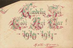 Julehilsen. Glædelig jul og godt nytt aar 1910-1911 + Håndskrevet på kartong av Utg H. Th. Hansen.