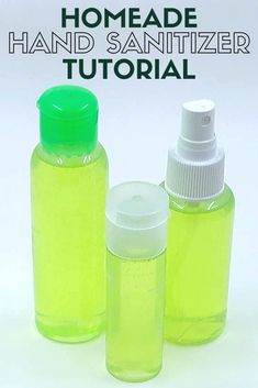 An easy recipe to make your own hand sanitizer when you aren't able to wash your hands with soap and water. Only 3 ingredients! Home Made Hand Sanitizer, Natural Hand Sanitizer, Diy Cleaning Products, Cleaning Hacks, Cleaning Solutions, Homemade Products, Diy Products, Make Tutorial, How To Make Homemade