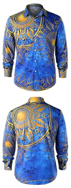 Long Sleeve Maya Totem Print Shirt  #Gamiss