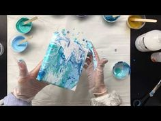 ( 542 ) 50cm x 20 cm Acrylic pour with cells - YouTube