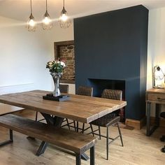 Firelplace in Farrow & Ball Hague Blue Dining Room Colors, Blue Living Room, Dining Room Colour Schemes, Dining Room Design, Open Plan Kitchen Living Room, Dining Room Combo, Home Decor, Cottage Dining Rooms, Cosy Living Room