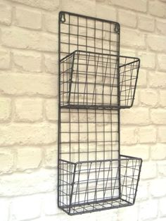 Vintage Industrial Style Metal Wall Shelf Unit Letter Rack Storage Baskets New