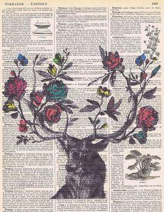Roses.Flowers.DeerAntique Book Page Print by studioflowerpower