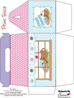 Printable donut favor box from http://www.familyshoppingbag.com