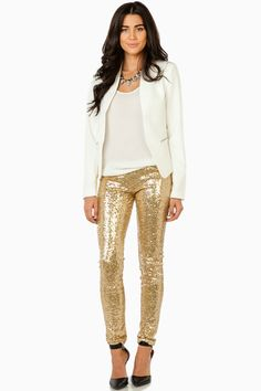 ShopSosie Style : Make It Shine Sequin Leggings in Gold...these will be making their way in my closet.