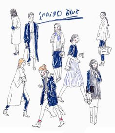 A drawing-exercise with a pen  Women in deep blue  오랜만에 펜 오랜만에 사람들 _ by moreparsley