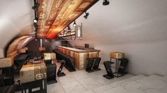 The project of the Pink Wine Point bar in Lisbon.
