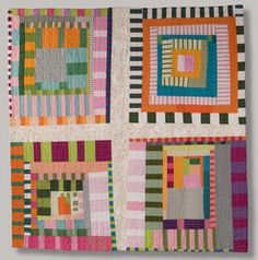 Portfolio - Sarah Bearup-Neal: Studio Quilts Great use of striped fabric! Scrappy Quilts, Mini Quilts, Quilting Projects, Quilting Designs, Quilt Inspiration, Gees Bend Quilts, Log Cabin Quilts, Log Cabins, Quilt Modernen