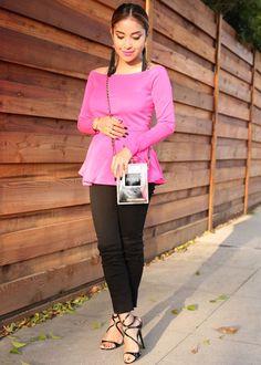 Pink peplum top with black pants