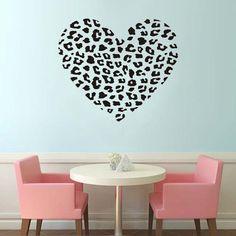 Heart Shape Cheetah Spot Valentine Gift Idea Vinyl Decal Wall Sticker Room Decor #ColorfulHall #ArtsCraftsMissionStyle