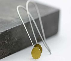 Gold & Silver Drop Earrings Keum Boo Unique by leChienNoirJewelry, $45.00
