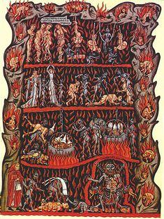Medieval illustration of Hell in the Hortus deliciarum manuscript of Herrad of Landsberg (about [ 878 1172 pixels] Medieval Books, Medieval Manuscript, Medieval Art, Illuminated Manuscript, Medieval Life, The Residents, Women Artist, The Animals, Web Gallery Of Art