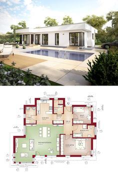 Modernes doppelhaus mit pultdach grundriss haus for Minimalistisches haus grundriss