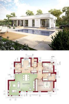 Bungalow Haus Evolution 100 V8 Grundriss - Bien Zenker - Modern Bauhaus, Flachdach, Terrasse, Pool, Garten, Glas Schiebetüren Fassade
