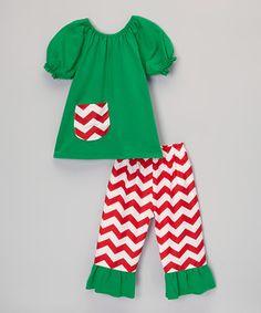 Royal Gem Green & Red Chevron Top & Pants - Toddler & Girls by Royal Gem #zulily #zulilyfinds