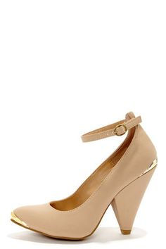 3eced4ab0b2ac4 Bamboo Thelma 03 Nude Nubuck Ankle Strap Pointed Heels