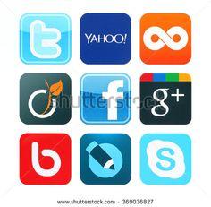 KIEV, UKRAINE - June 12, 2015:Collection of popular social media logos printed on paper:Facebook, Twitter, Google Plus, Twoo, Bebo, Viadeo, Yahoo, Skype and Livejournal