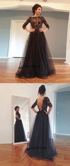 Black Lace Tulle Backless Long Prom Dresses, Evening Dresses,PD4558972 #promdresses #fashion #shopping #dresses #eveningdresses