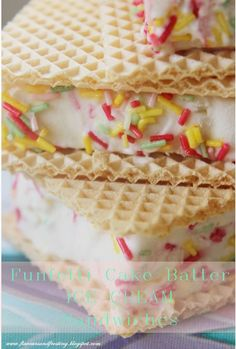 Funfetti Cake Batter Sandwiches made without an ice cream maker!!