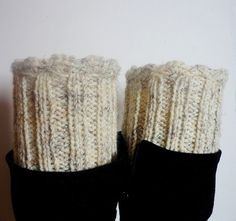 Knit Boot Cuff Oatmeal color wellies boot cuff  by IskaCreations