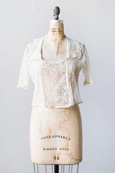 vintage 1920s sheer net irish lace blouse