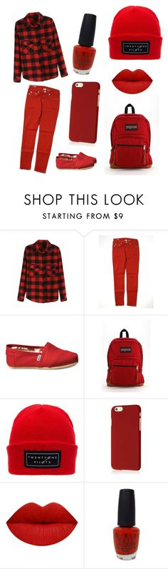 """Color Set: Red"" by cougar-claw ❤ liked on Polyvore featuring True Religion, TOMS, JanSport, Klix and OPI"