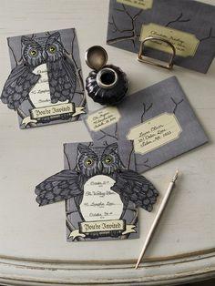 Martha Stewart Crafts Elegant Witch Owl Invitations #owl #Martha #Stewart #Halloween #invitations #witch