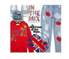 """""""Red, white and blue"""" by no-where-girl ❤ liked on Polyvore featuring Gucci, Yves Saint Laurent and Dsquared2"""