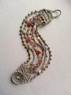 Bead Crochet Cuff Bracelet, Gray Cranberry Brass, Boho Bohemian Chic Jewelry…