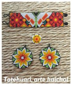 Beautiful game of necklace and Huichol earrings hand embroidered by the wonderful hands of our artisans Wixarica of the state of Nayarit! Earrings, bracelet and ring set Seed Bead Bracelets, Seed Beads, Huichol Art, Beading Patterns, Beaded Jewelry, Artisan, Etsy, Beadwork, Earrings