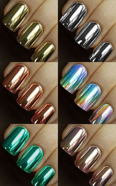 I can't get enough metallic nails! Fabulous Nails, Gorgeous Nails, Hot Nails, Hair And Nails, Shiny Nails, Sparkle Nails, Crome Nails, Uñas Fashion, Manicure E Pedicure
