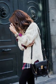 Colorful plaid flannel layered under chunky neutral sweater || Collage Vintage