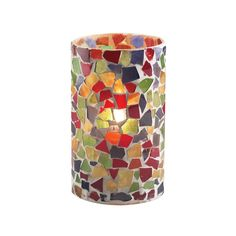 """SternoCandleLamp 80204 5"""" Multicolor Mosaic Candle Holder Lamp"""