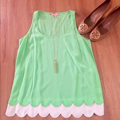 Lilly Pulitzer Bright Green Tank Top This top is a sleeveless silk top in gorgeous spring color. This top has a scoop neck. I love this top with white denim and wedges. I've only worn this top once so it's in excellent condition.  Sleeveless Top - 100% Silk. Dry Clean Only. Imported. Lilly Pulitzer Tops Tank Tops