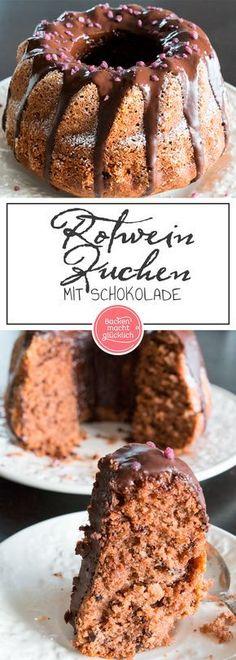 Rezept: Rotwein Kuchen mit Schokolade. Super lecker und einfach. Einfach selber machen.