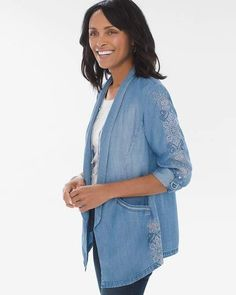 afcd34e925aab Chico's Chicos Embroidered Tencel Twill Blazer Front Design, Chambray,  Chic, Clothing, Blazer