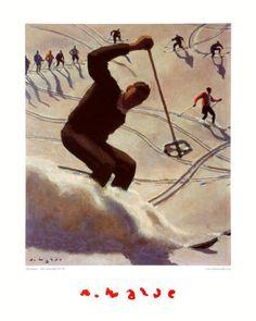 Alfons Walde - The Swing great ski artist Vintage Ski Posters, Cool Posters, Sports Posters, Ski Decor, Retro Illustration, Illustrations, Kunst Online, Beach Trip, Hawaii Beach