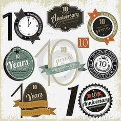 10 Years Anniversary Signs And Cards Stock Vector Ilration Of Champion Congratulation 27541011 Business Ideascompany