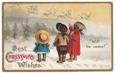 VICTORIAN CLAPSADDLE CHRISTMAS EMBOSSED Postcard Children Waiting for Santa