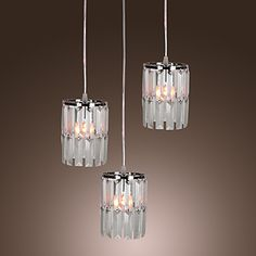 Modern Bar Pendant Light with 3 Lights in Crystal Shade – USD $ 159.99