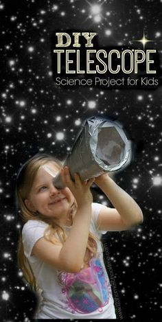 Make your own telescope science project that really works!! This is such a fun science experiment for exploring stars, the moon, solar system, planets or just as a fun educational activity for Preschool, Prek, Kindergarten, first grade, second grade,third grade, fourth grade, and fifth grade students. This would be an awesome summer activities for kids to add to your summer bucket list or kids activities for afterschool or homeschool during the school year