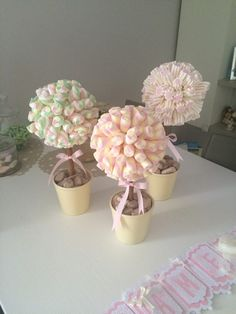 Alberi marshmallow Sweet Table Wedding, Bar A Bonbon, Girls Tea Party, Sweet Trees, Chocolate Bouquet, Circus Party, Diy Party Decorations, Baby Shower Games, Holidays And Events