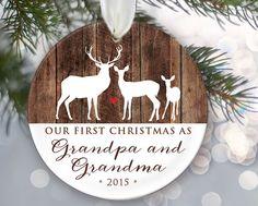 Our First Christmas as Grandma & Grandpa Personalized Christmas Ornament Grandparents Ornament Godparents Gift Deer and wood keepsake by LilStinkerDesign