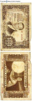 España - 100 ptes. : El Banco de España pagará al portador cien pesetas, Madrid, 7 de abril de 1953 :: Paper moneda del Pavelló de la República (Universitat de Barcelona)