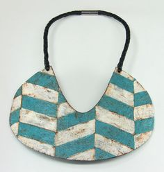 Bold, graphic chevron bib collar, upcycled, recycled, paper mache and leather